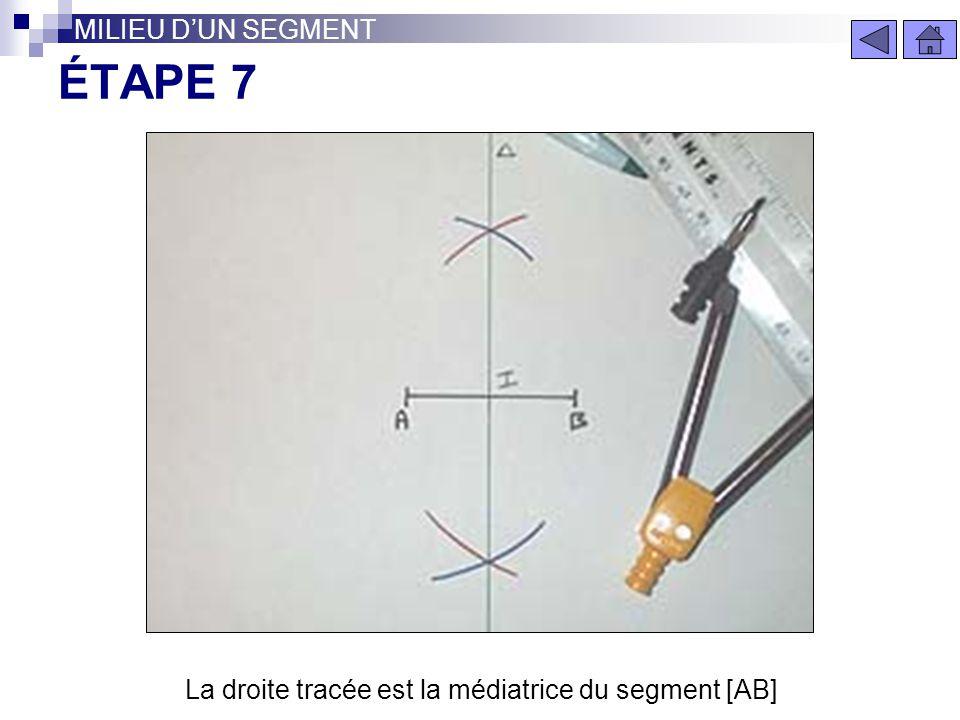 La droite tracée est la médiatrice du segment [AB]
